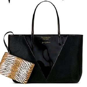 Victoria's Secret large black tote and tiger pouch